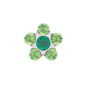 Daisy Emerald-Peridot, weiss, 5 mm