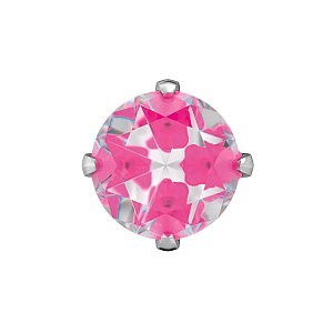 Tiffany Cubic Zirconia Neon Hot Pink, weiss, 5 mm, Stein 4 mm
