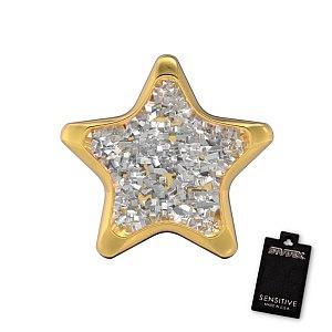 Stern Glitter weiss, vergoldet, 6.5 mm