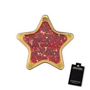 Stern Glitter rot, vergoldet, 6.5 mm