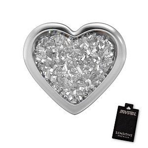 Herz Glitter weiss, weiss, 7 mm