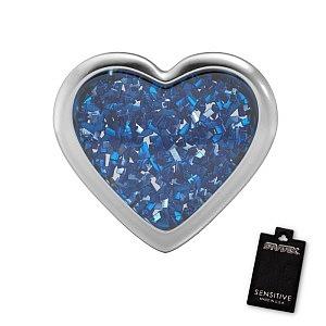 Herz Glitter Saphir, weiss, 7 mm