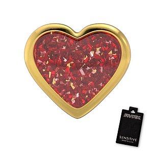 Herz Glitter rot, vergoldet, 7 mm