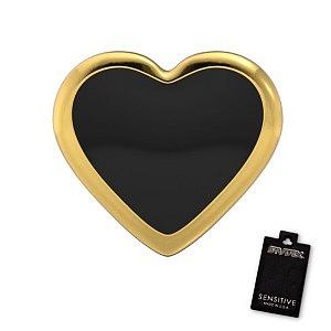 Herz Schwarz, vergoldet , 7 mm