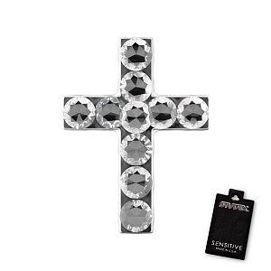 Kreuz Kristall, weiss, 9 mm