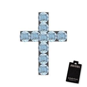 Kreuz Aquamarine, weiss, 9 mm