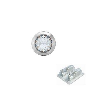 Bezel mit Kristall, weiss, 4 mm, Stein 3 mm