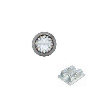 Titan Bezel mit Kristall, Titan weiss, 4 mm, Stein 3 mm
