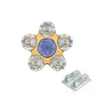 Daisy Kristall-Saphir, vergoldet, 5 mm