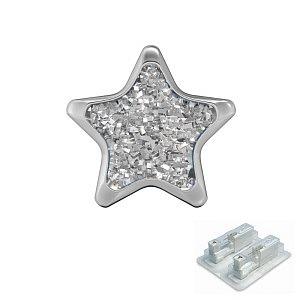 Stern Glitter weiss, weiss, 6.5 mm