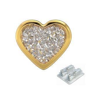 Herz Glitter weiss, vergoldet, 7 mm