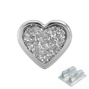 Herz Glitter weis, weiss, 7 mm