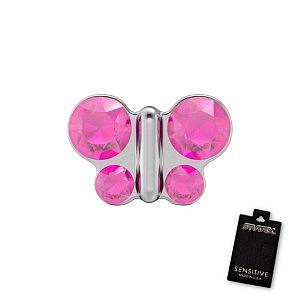 Schmetterling Rosa, weiss, 5 mm