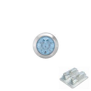 Bezel mit Aquamarin, weiss, 4 mm, Stein 3 mm